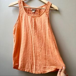 Lucky Brand Embroidered Crochet Tank Top Boho M